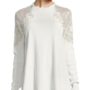 NWOT Free People Daniela Embroidered Illusion Top